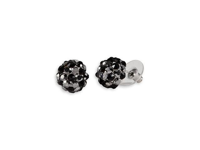 Black Grey Round Cluster Silver Tone Stud Earrings