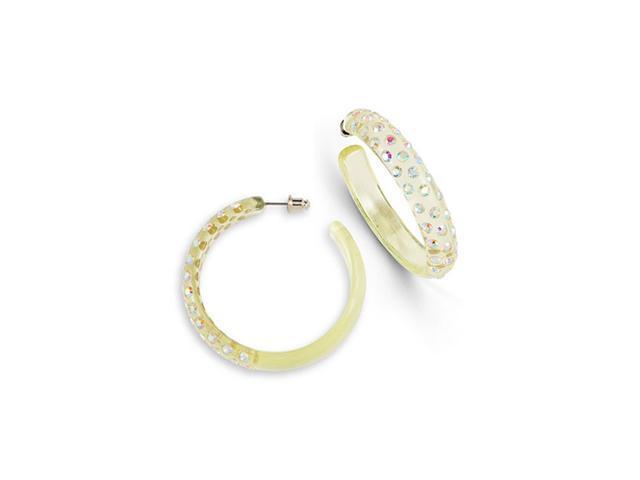 Lime Green Rainbow Swarovski Crystal Hoop Earrings