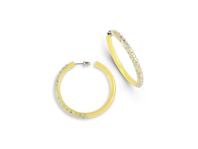 Rainbow Swarovski Crystal Yellow Acrylic Hoop Earrings