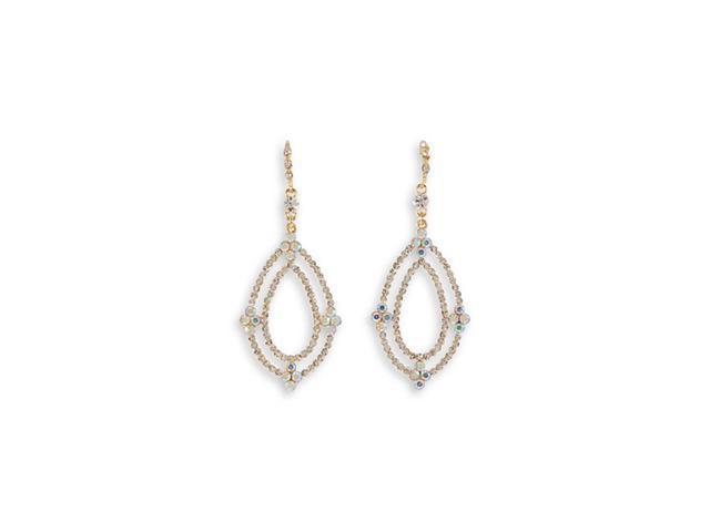 Rainbow White CZ Oval Teardrop Fashion Dangle Earrings