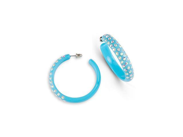 Light Green Rainbow Swarovski Crystal Hoop Earrings