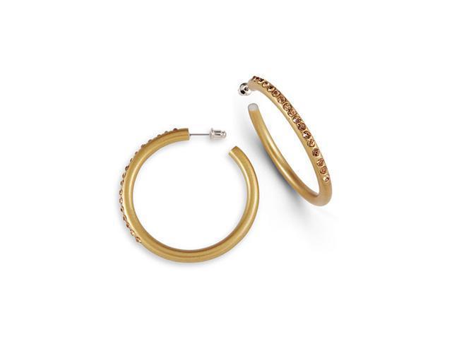 Smoky Topaz Crystal Gold Tone Acrylic Hoop Earrings