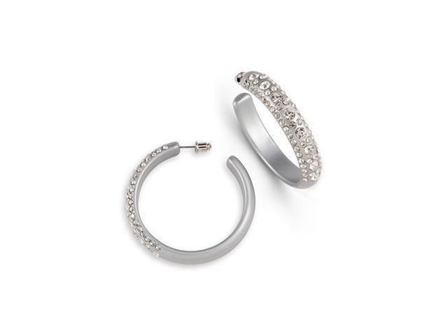 Round White Swarovski Crystal Grey Acrylic Earrings