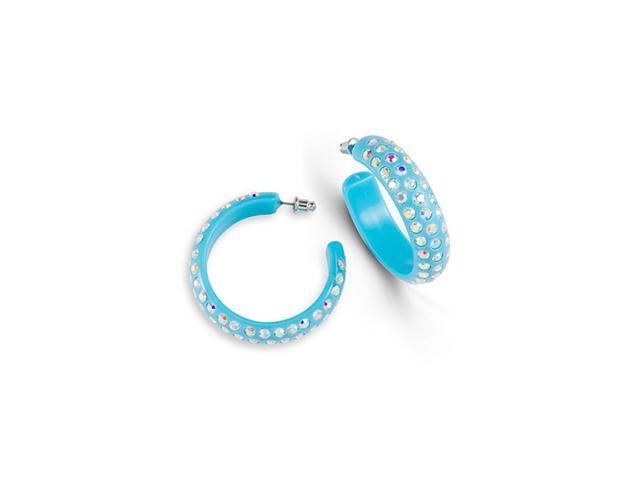 Solid Light Blue Acrylic Rainbow Crystal Hoop Earrings