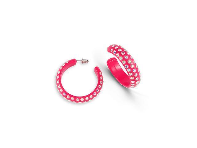 Solid Pink Acrylic Rainbow Swarovski Crystal Earrings