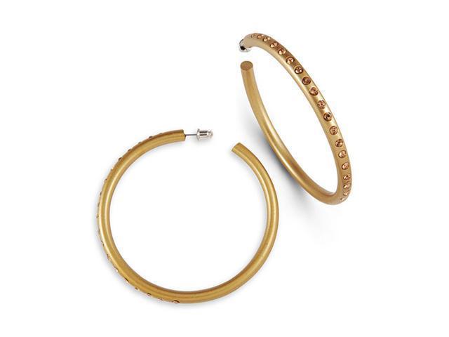 Hoop Earrings Gold Tone Smoky Topaz Swarovski Crystal