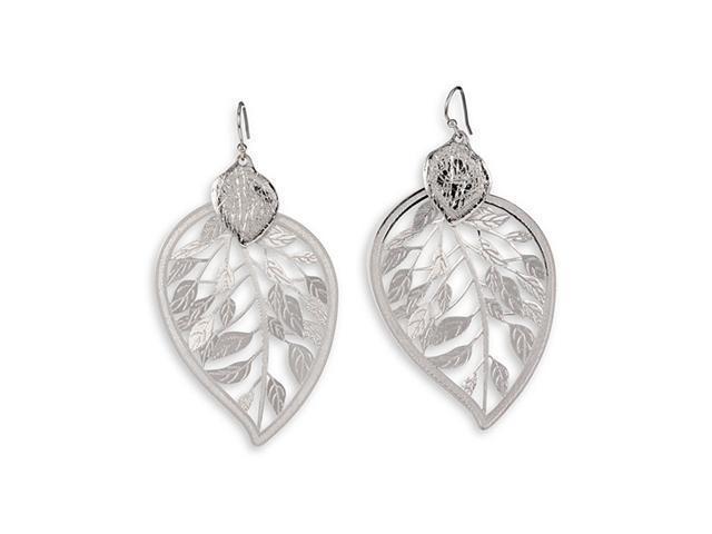 Polished Silver Tone Etched Leaf Dangle Charm Earrings