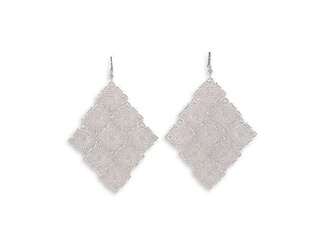 Silver Tone Square Open Scroll Link Chandelier Earrings
