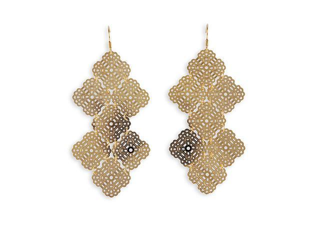 Pure Golden Toned Laser Cut Metal Dangling Earrings