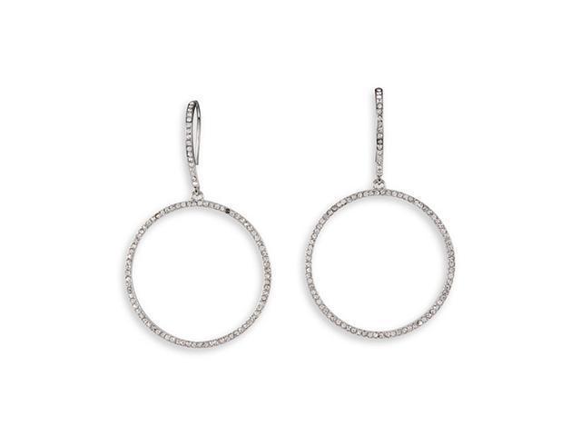 White CZ Silver Tone Round Chandelier Dangle Earrings