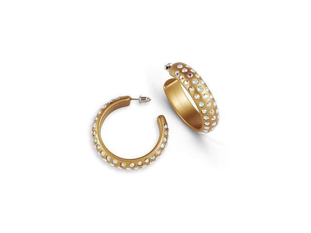 Solid Gold Tone Acrylic Rainbow Crystal Hoop Earrings