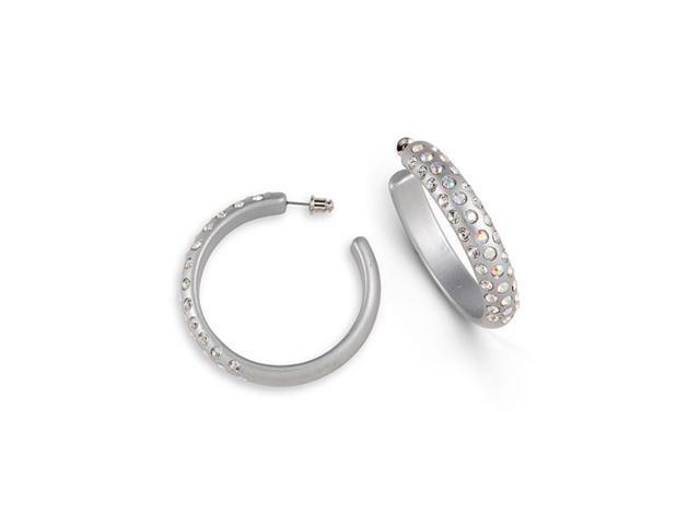 Grey Tone Rainbow White Swarovski Crystal Hoop Earrings