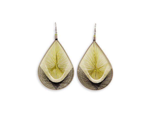 Sage Lime Green Gold Tone Fashion Dangling Earrings