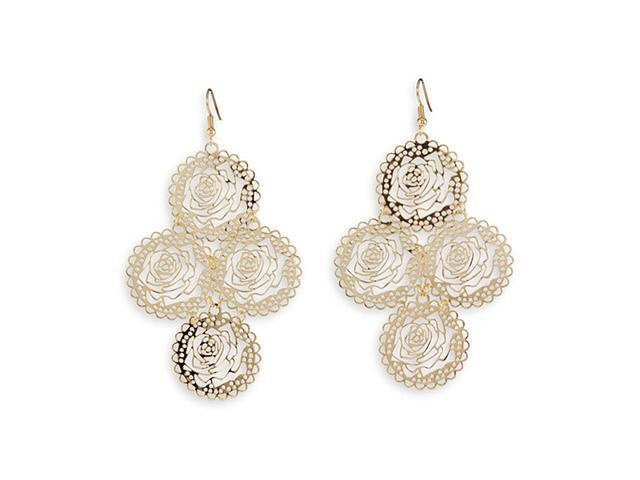Polished Gold Tone Floral Cutout Wire Dangle Earrings