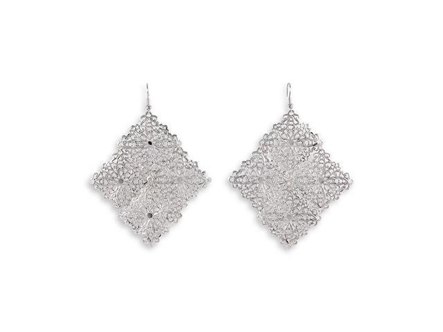 Laser Cut Floral Silver Tone Square Dangle Earrings