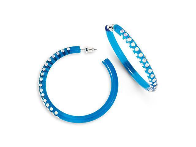 Rainbow Swarovski Crystal Hoop Clear Blue Earrings