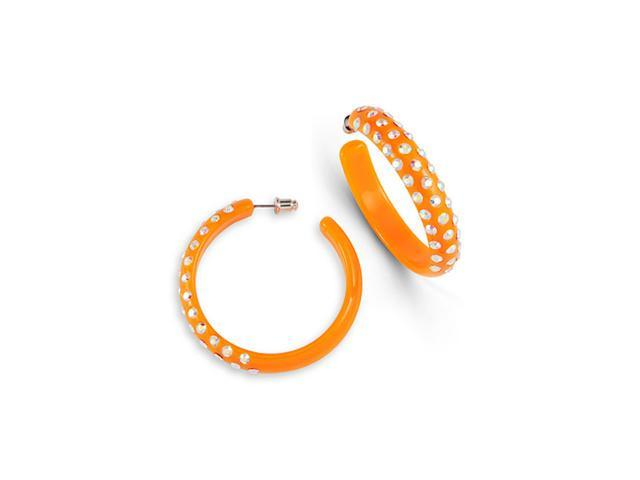 Orange Triple Rainbow Swarovski Crystal Hoop Earrings