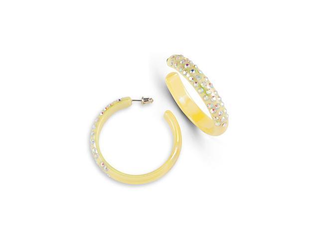 Yellow Acrylic Rainbow Swarovski Crystal Hoop Earrings
