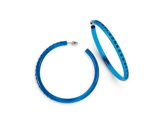Teal Swarovski Crystal Solid Acrylic Hoop Earrings
