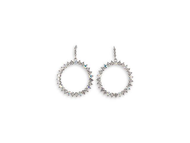 CZ Round Rainbow Silver Tone Fashion Dangle Earrings