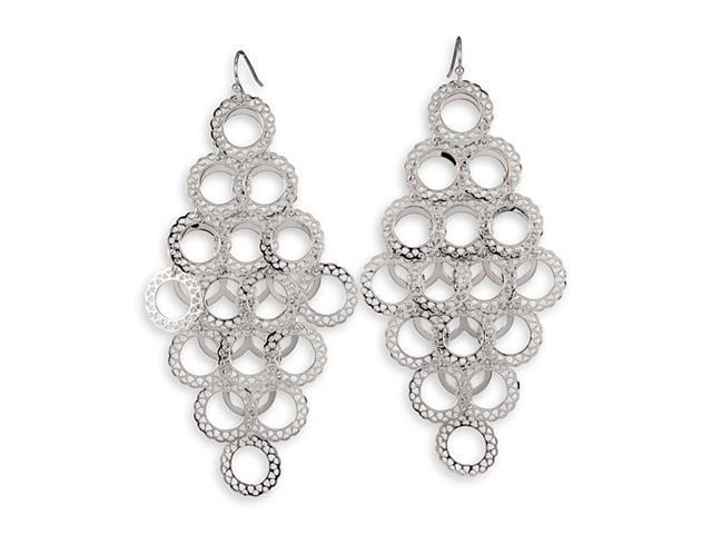 Silver Tone Laser Cut Round Charm Link Dangle Earrings