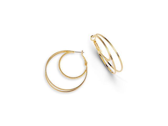 Golden Tone Triple Round Polished Solid Hoop Earrings