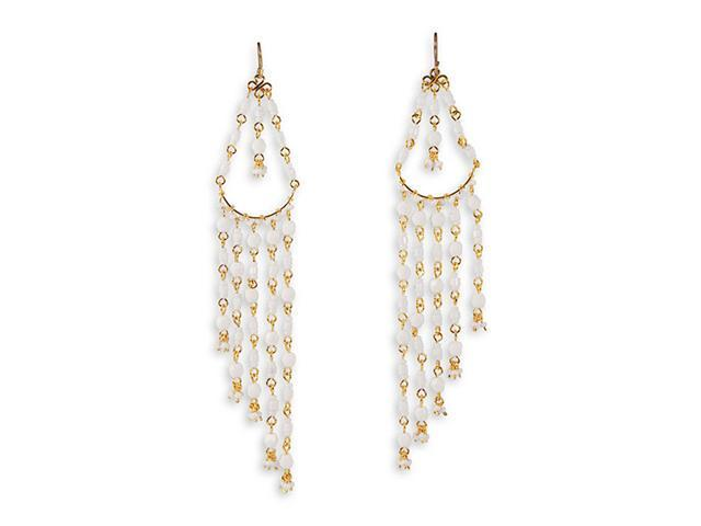 White Stone Gold Tone Wire Teardrop Chandelier Earrings