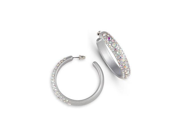 Grey Acrylic Hoop Earrings Rainbow Swarovski Crystal