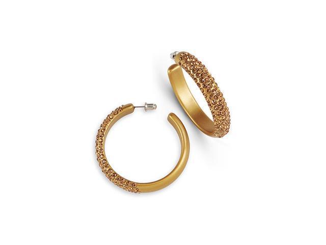 Gold Tone Smokey Topaz Swarovski Crystal Hoop Earrings