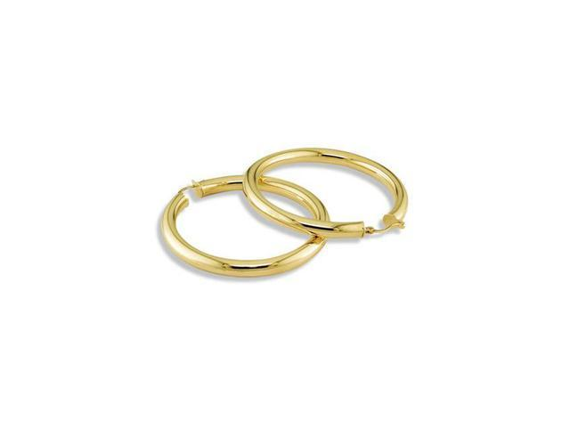 Large Solid 14k Yellow Gold Round Hoop Hinged Earrings