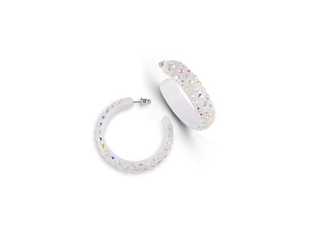 Polished Rainbow Swarovski Crystal White Hoop Earrings