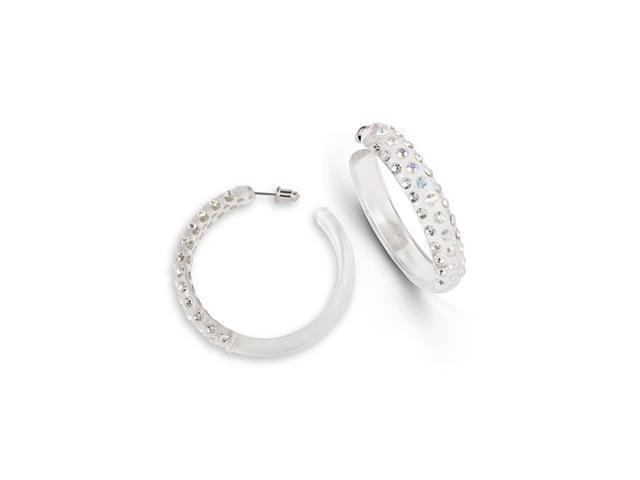Round Rainbow White Crystal Clear Acrylic Hoop Earrings
