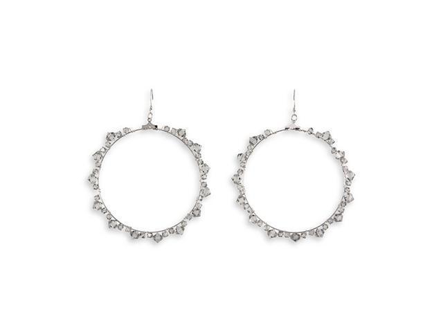 Polished Grey Crystal Silver Tone Round Hoop Earrings