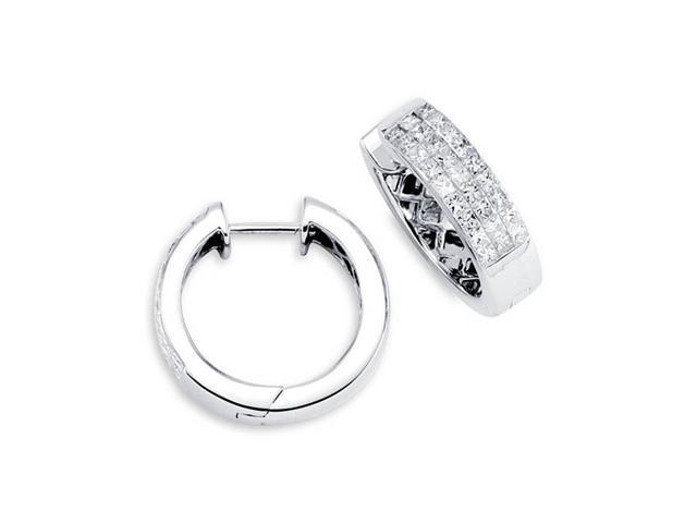 Solid 18K White Gold Hoops Princess Diamond Earrings