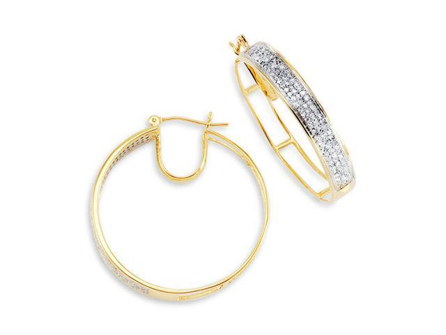 14K Yellow Gold Hoops Round White Diamond Earrings
