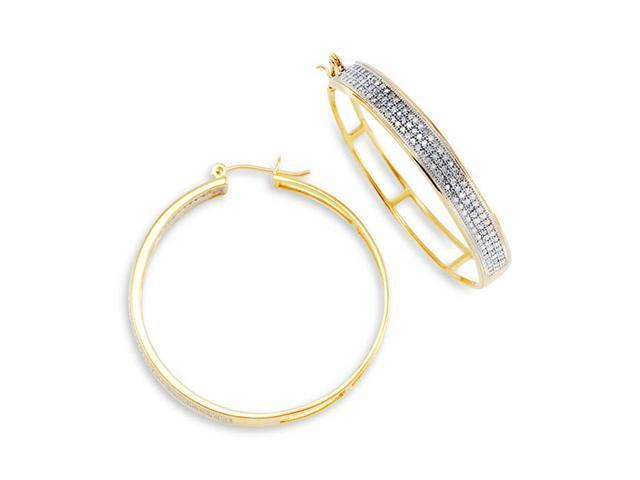 10K Yellow Gold Hoops Open Back Round Diamond Earrings