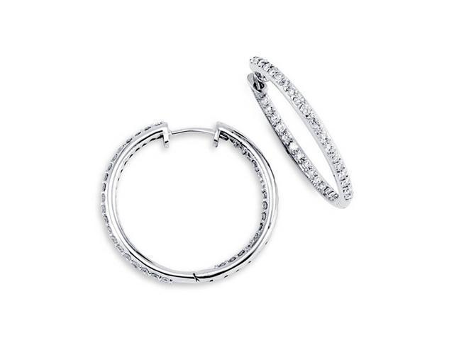 10K White Gold Hoops New In Out Round Diamond Earrings