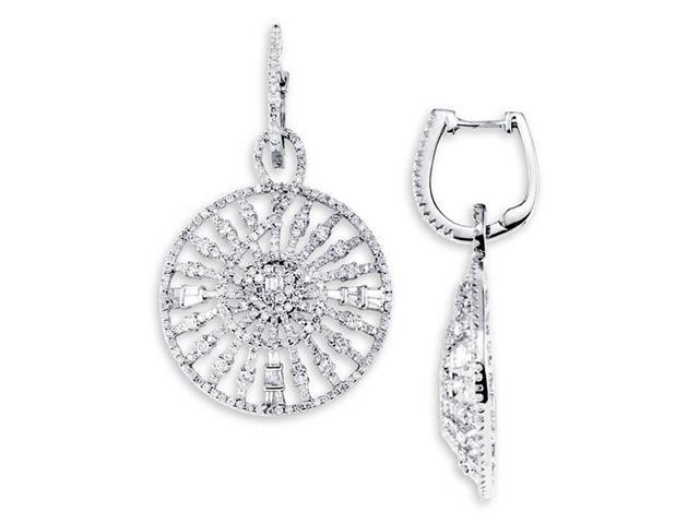 18K White Gold Dangle Round Baguette Diamond Earrings
