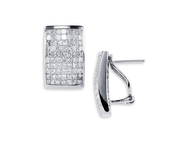 18K White Gold Rectangular Princess Diamond Earrings