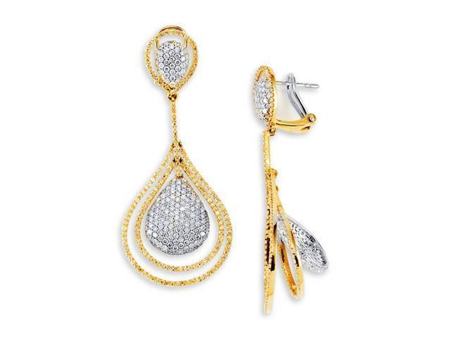 18K Rose Gold White Gold Round Diamond Dangle Earrings