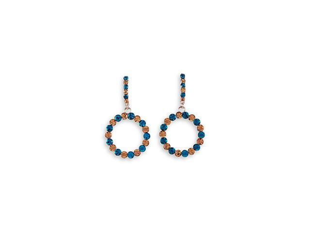 Teal Smoky Topaz CZ Round Dangle Stud Fashion Earrings