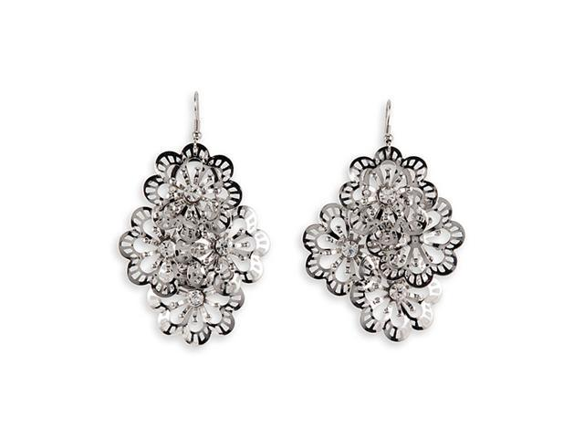 Silver Tone Laser Cut White CZ Flower Dangle Earrings