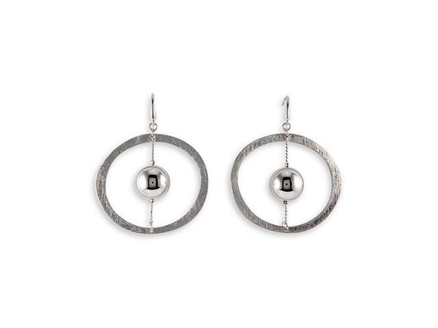 Unique Silver Tone Round Modern Fashion Dangle Earrings