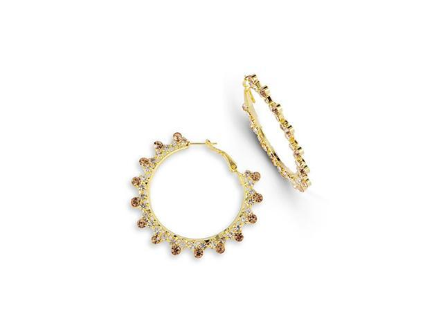 Polished White Champagne CZ Gold Tone Hoop Earrings