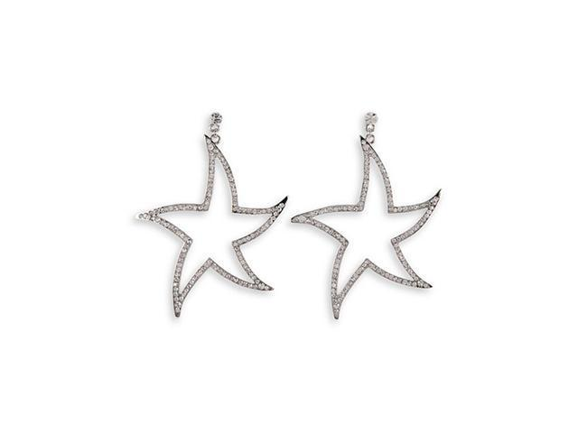 Round White CZ Silver Tone Star Stud Dangle Earrings