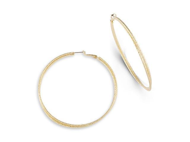 Gold Tone Solid Double Polished Fashion Hoop Earrings
