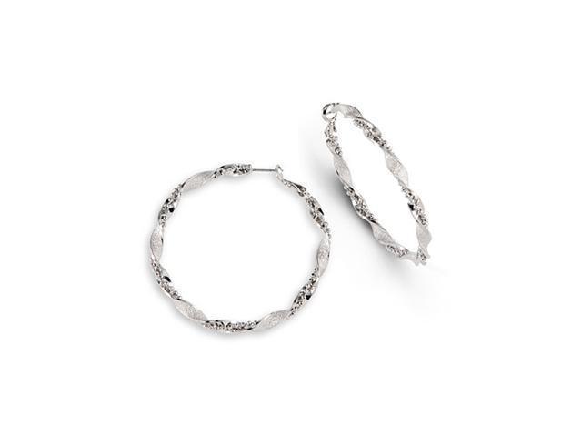Polished Silver Tone Dangle Round Twist Hoop Earrings