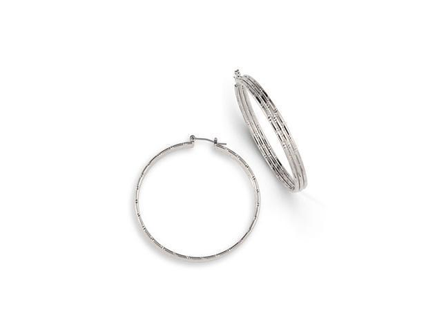 Silver Tone Solid Polished Round Triple Hoop Earrings