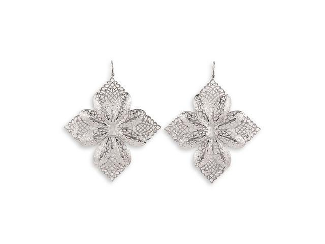 Silver Tone Laser Cut Scroll Fashion Floral Earrings