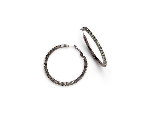 Polished Grey CZ Silver Tone Extra Large Hoop Earrings